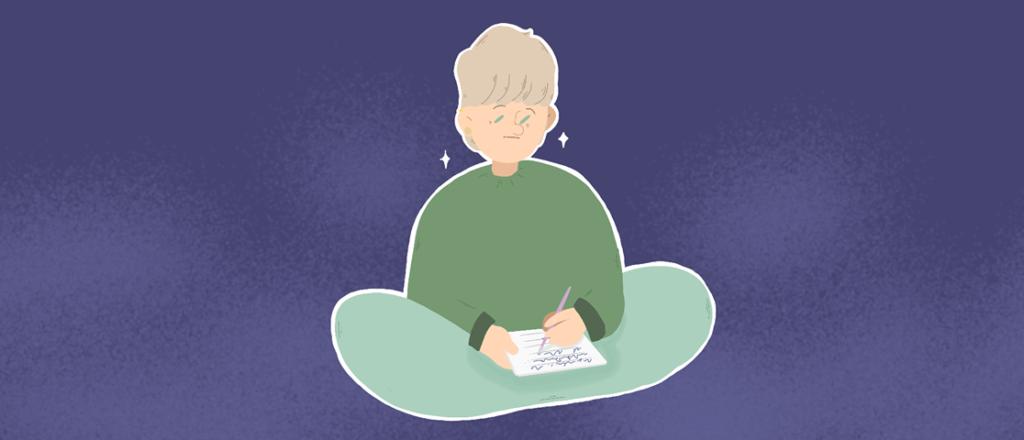 Dessin d'un adolescent écrivant un journal, par Mike Vanvelthem.